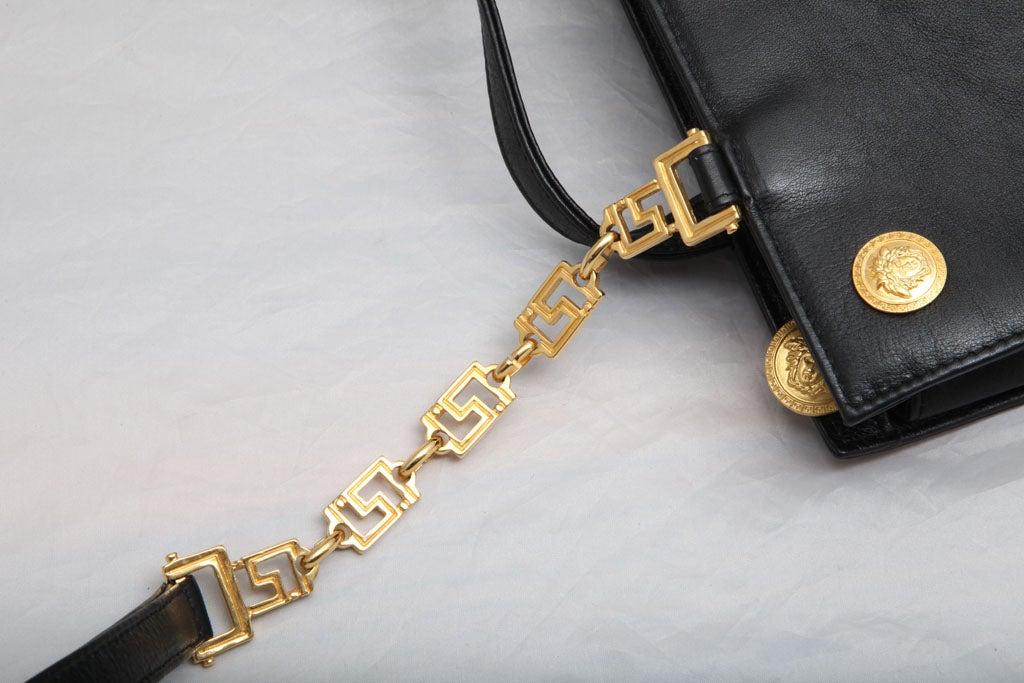 Gianni Versace Couture Black Shoulder Bag with Gold Medusa M 4