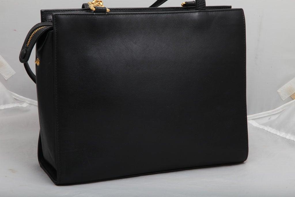 Gianni Versace Couture Black Shoulder Bag with Gold Medusa M For Sale 1