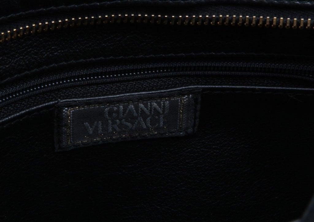 Gianni Versace Couture Black Shoulder Bag with Gold Medusa M For Sale 2