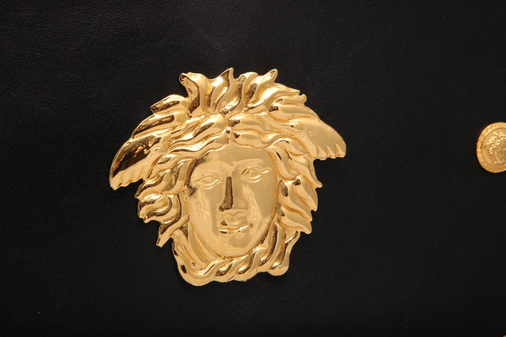 Gianni Versace Couture Black Shoulder Bag with Gold Medusa M For Sale 3