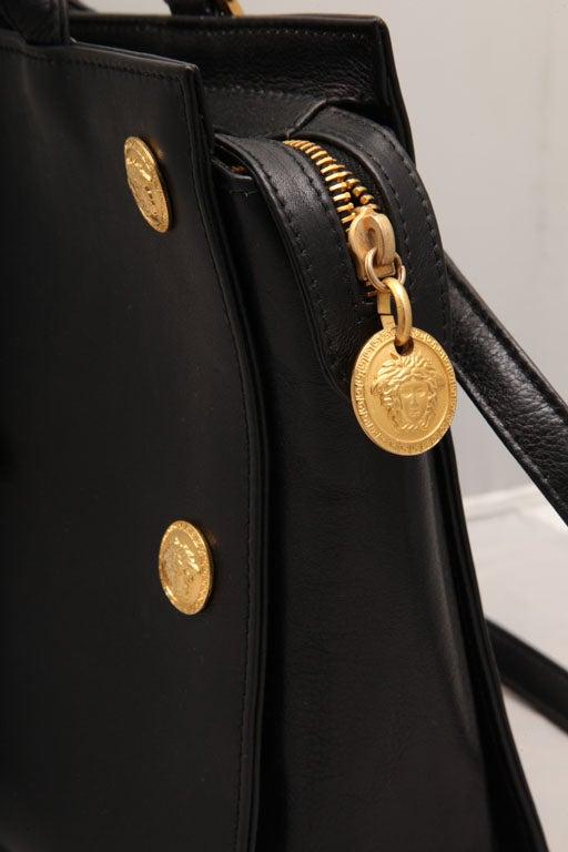 Gianni Versace Couture Black Shoulder Bag with Gold Medusa M For Sale 4