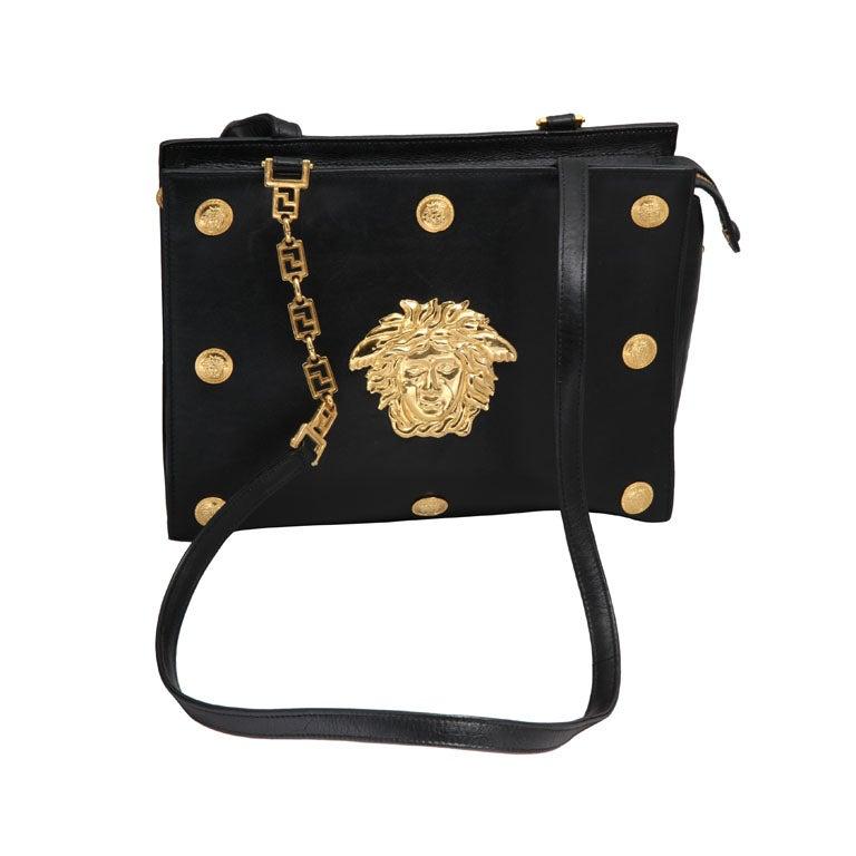 Gianni Versace Couture Black Shoulder Bag with Gold Medusa M 1