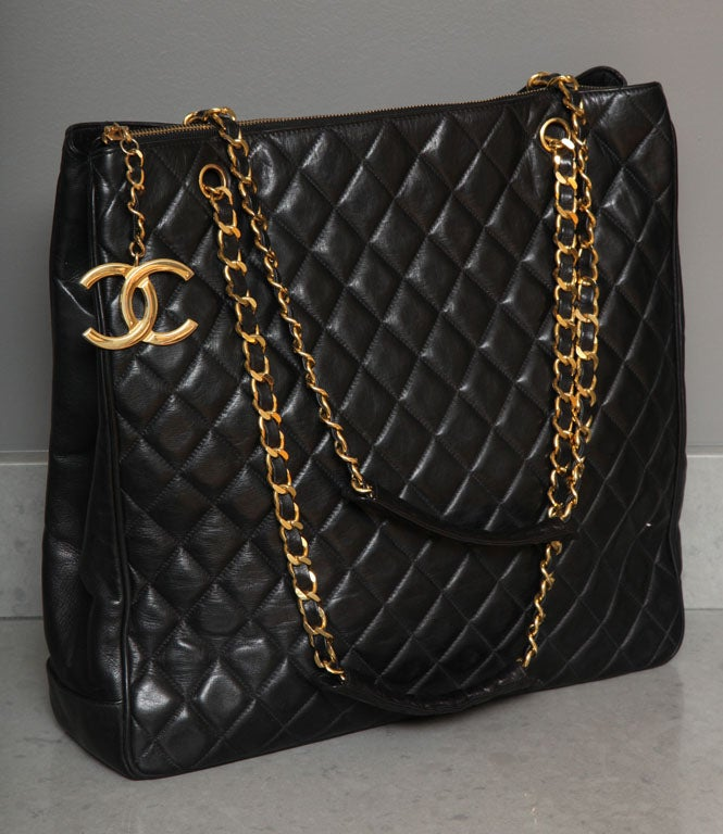 Chanel Black Tote Bag with Quilted Details 2