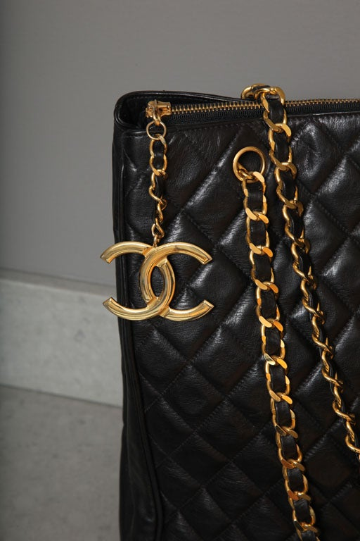 Chanel Black Tote Bag with Quilted Details 3