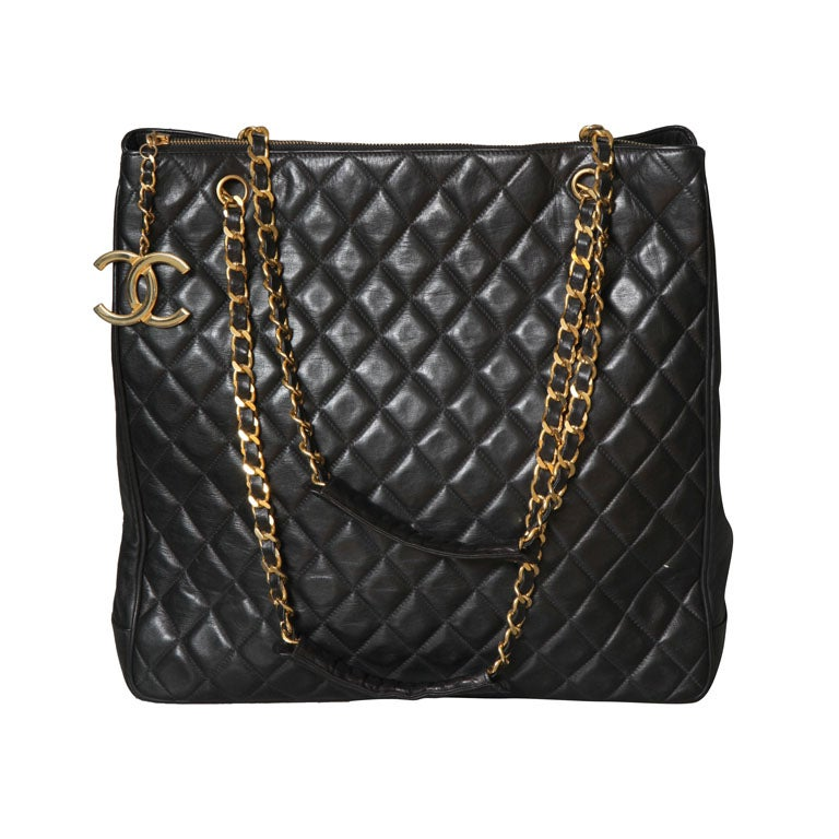 Chanel Black Tote Bag with Quilted Details 1