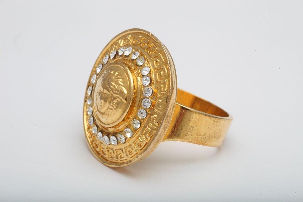 vintage versace medusa ring w rhinestones at 1stdibs