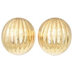 Elegant Ribbed Gold Clip Earrings
