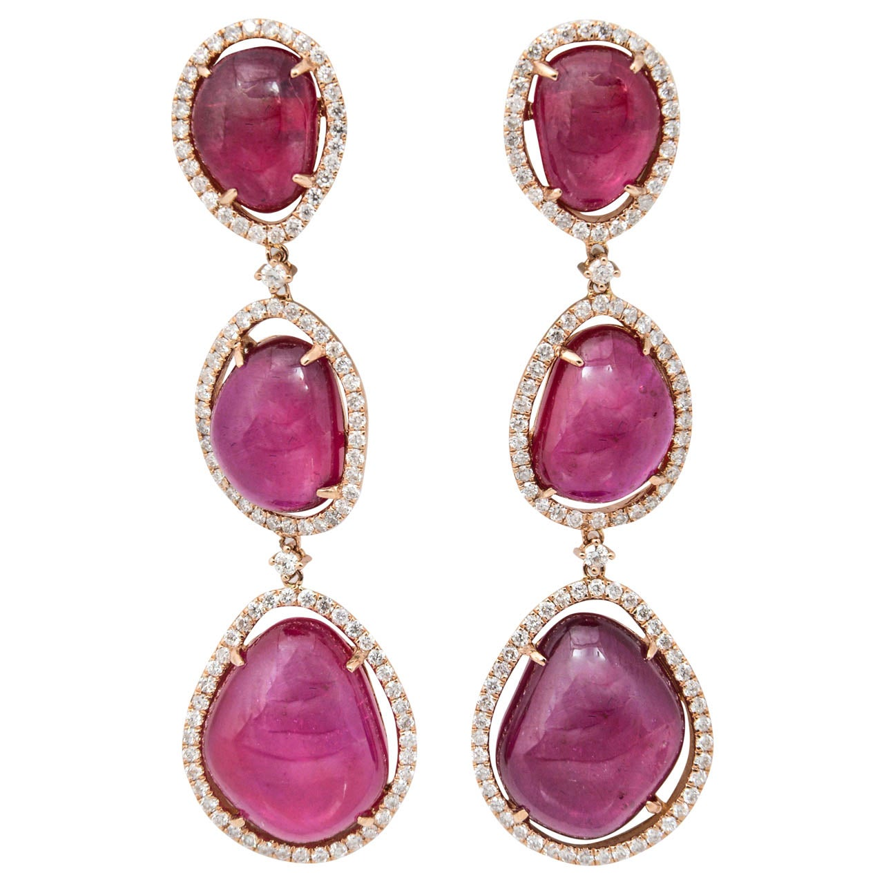 Home Decor Antiques Incredible Oscarworthy Ruby Diamond Pink Gold Triple Drop