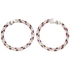 Large Ruby Diamond White Gold Hoops