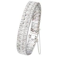 French Art Deco Diamond and Platinum Filigree Line Bracelet