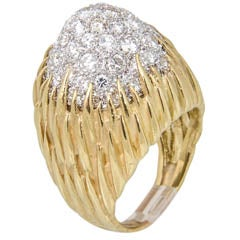 1960s-1970s Pave Diamond Gold Floral Design Dome Ring