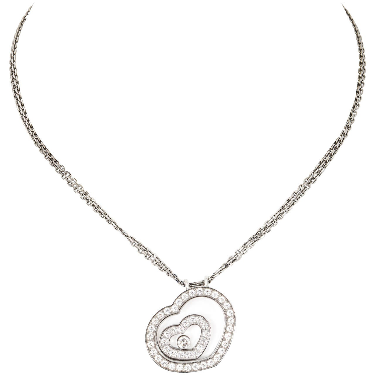 Chopard happy spirit floating diamond white gold heart pendant chopard happy spirit floating diamond white gold heart pendant necklace mozeypictures