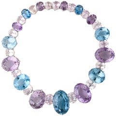 Impressive Large Amethyst, Blue Topaz, Morganite and White Gold Necklace
