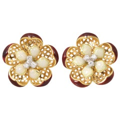 Mid Century Red & Cream Enamel Gold Flower Earrings