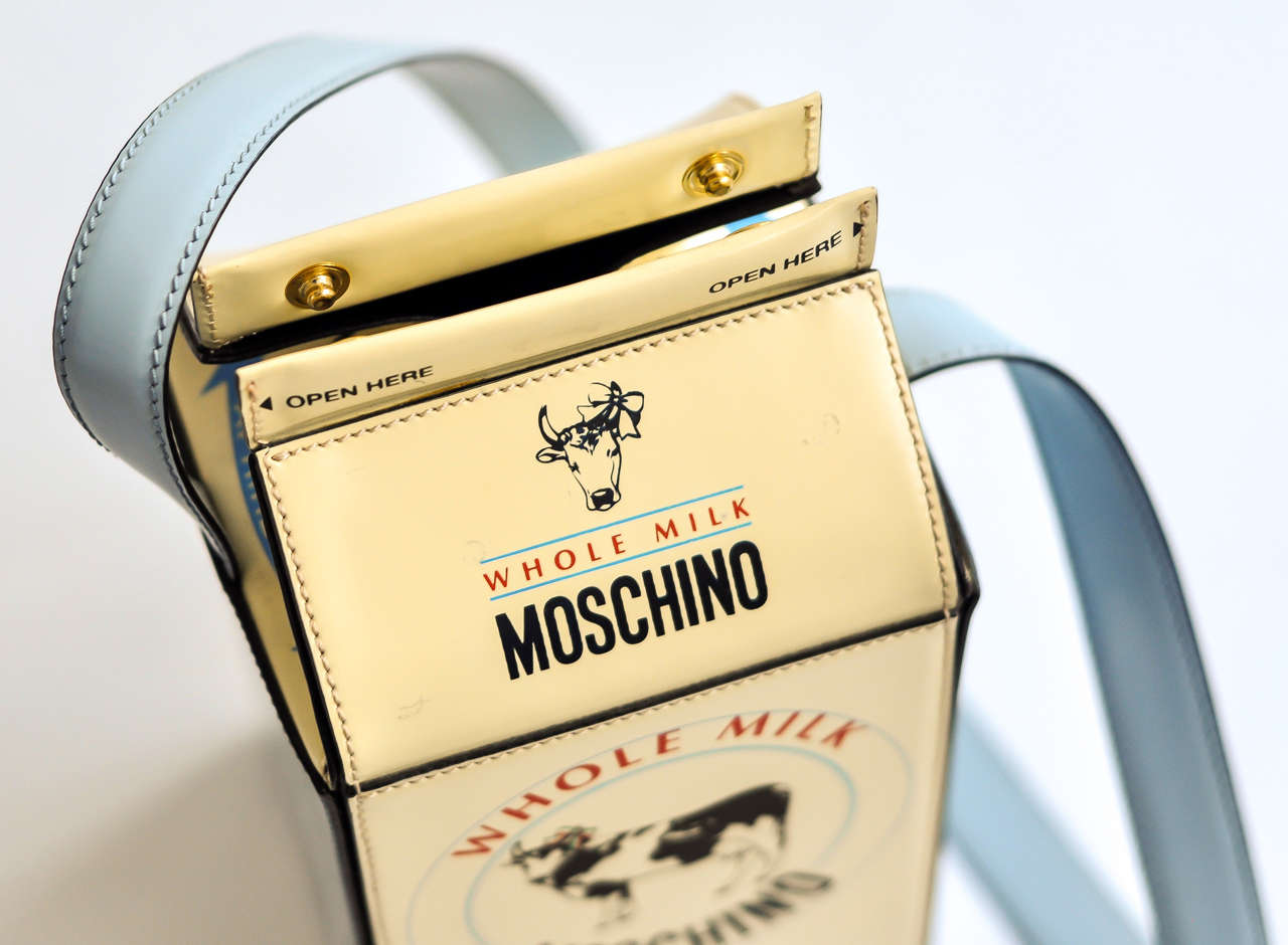 "1990s Moschino ""Milk Carton"" Leather Handbag 7"