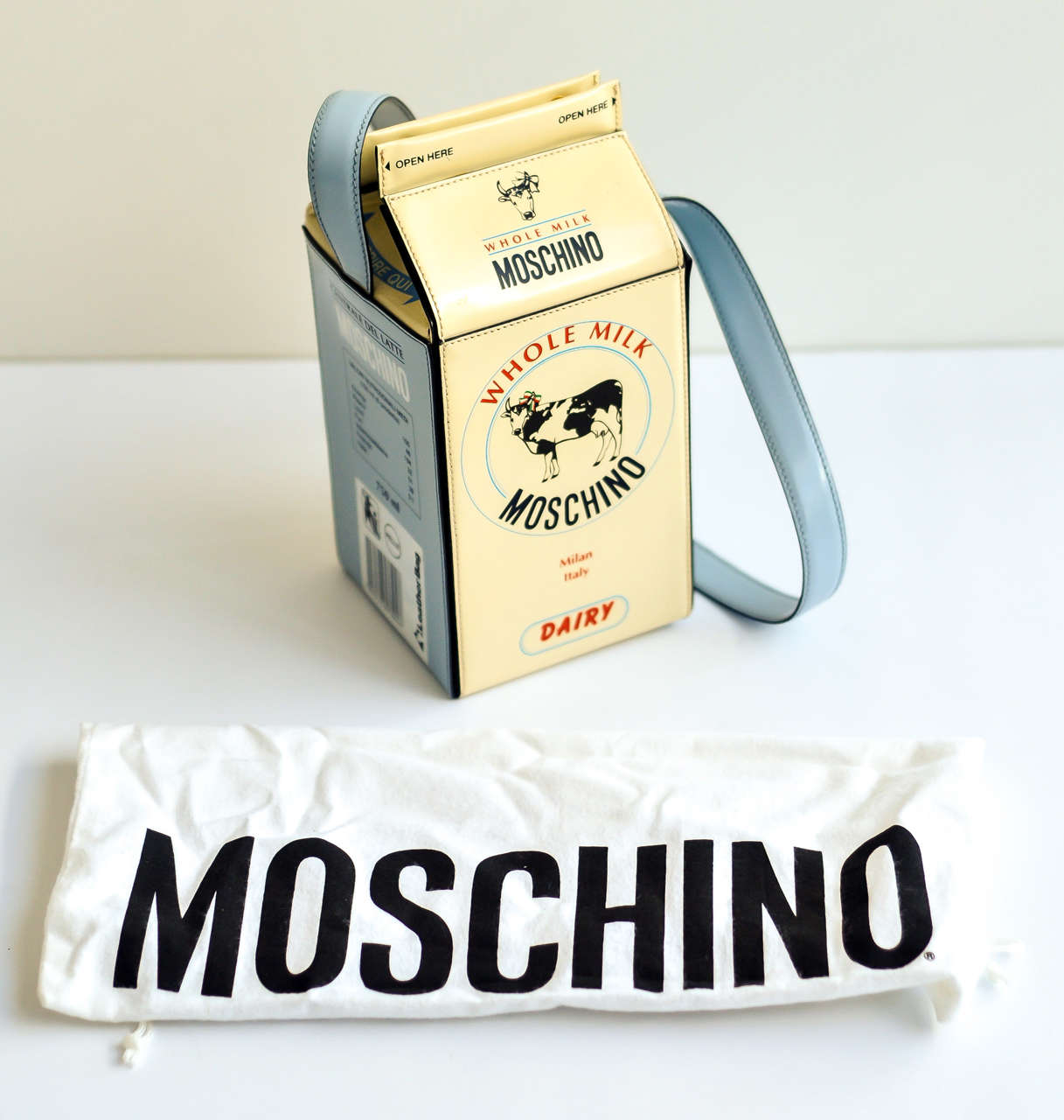"1990s Moschino ""Milk Carton"" Leather Handbag 8"