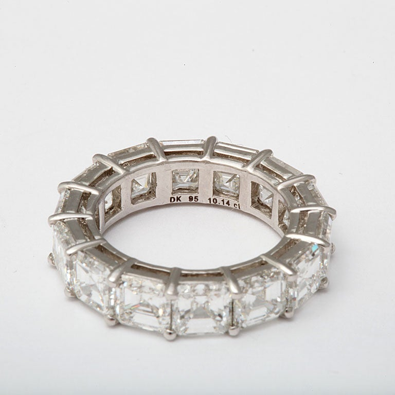 Spectacular Platinum  and Diamond Wedding Band For Sale 2