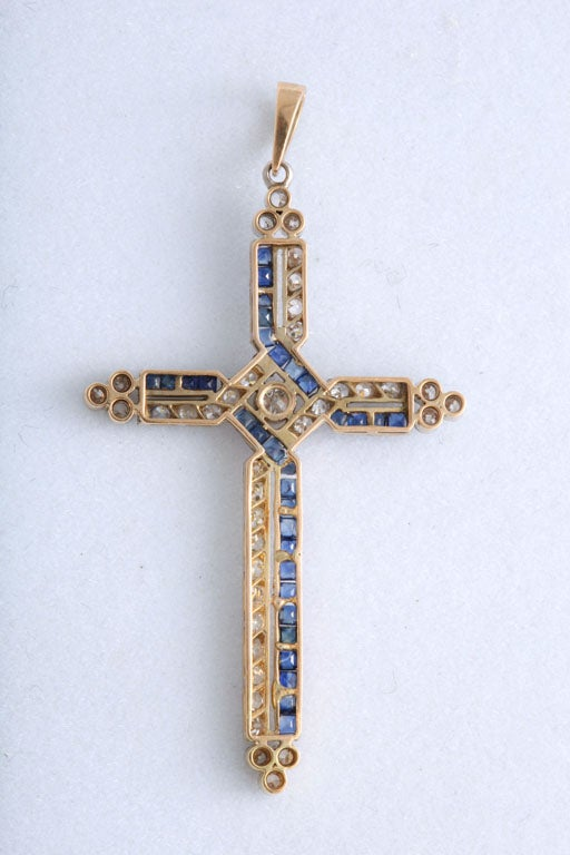 Antique Diamond and Channel Set Sapphires Cross Pendant 3
