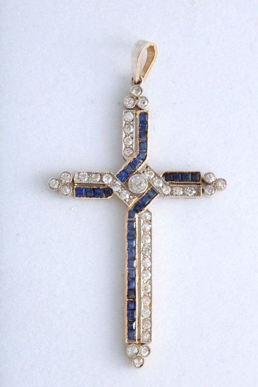 Antique Diamond and Channel Set Sapphires Cross Pendant 2
