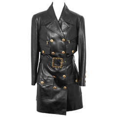 Vintage Chanel Amazing Leather Trench Coat with CC Buttons and Belt