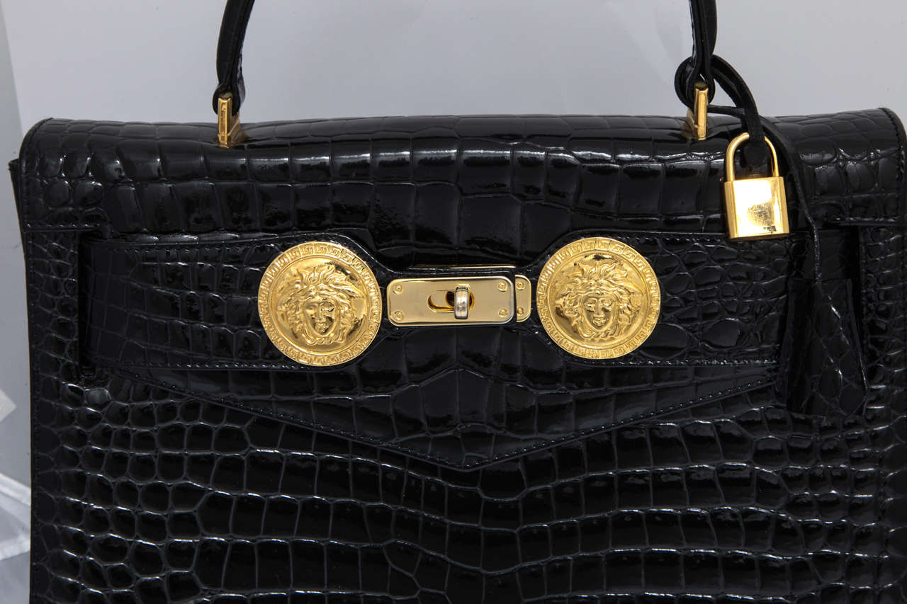 Gianni Versace Croc Embossed Couture Bag With Medusas 3
