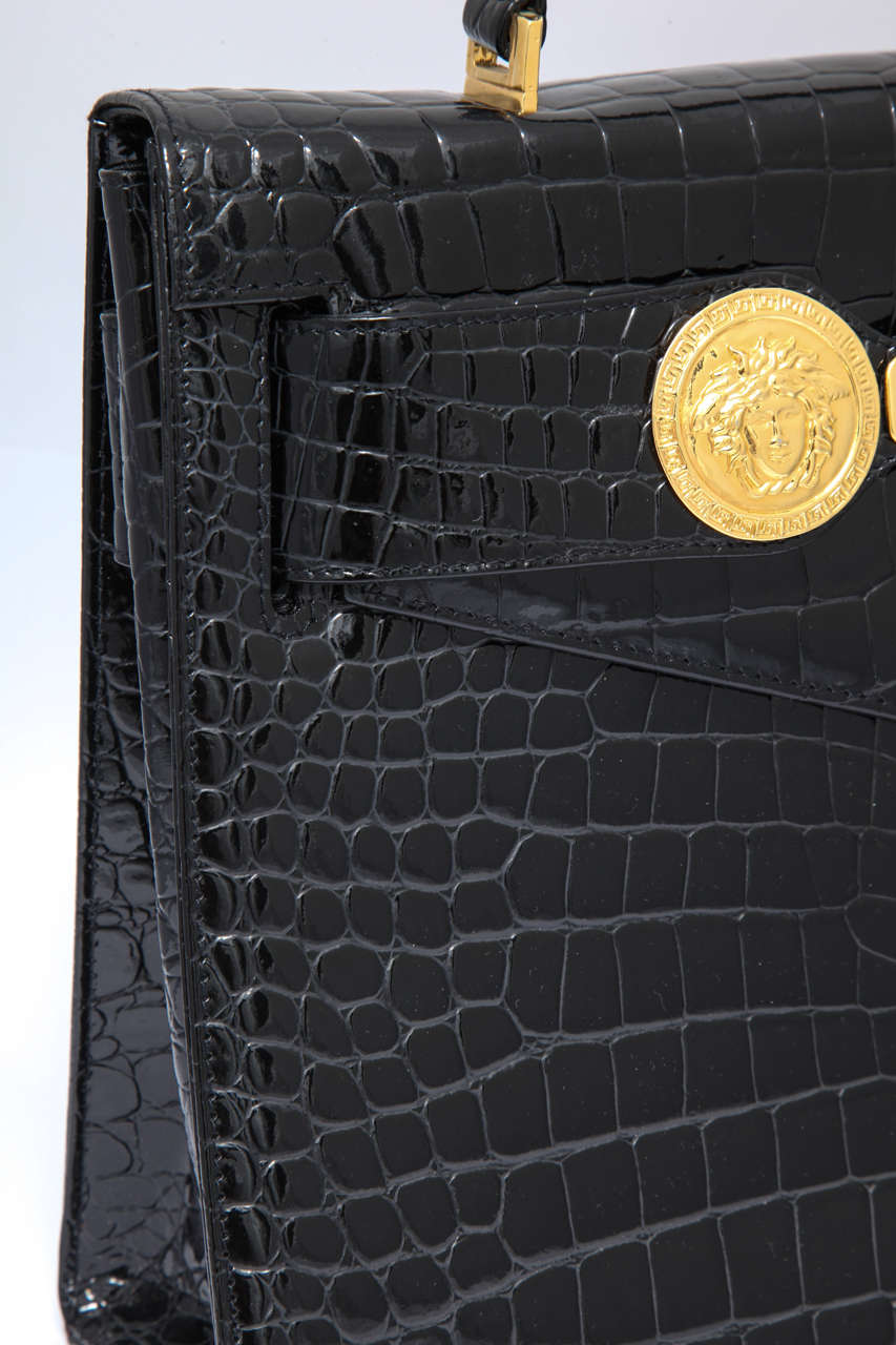 Gianni Versace Croc Embossed Couture Bag With Medusas 6