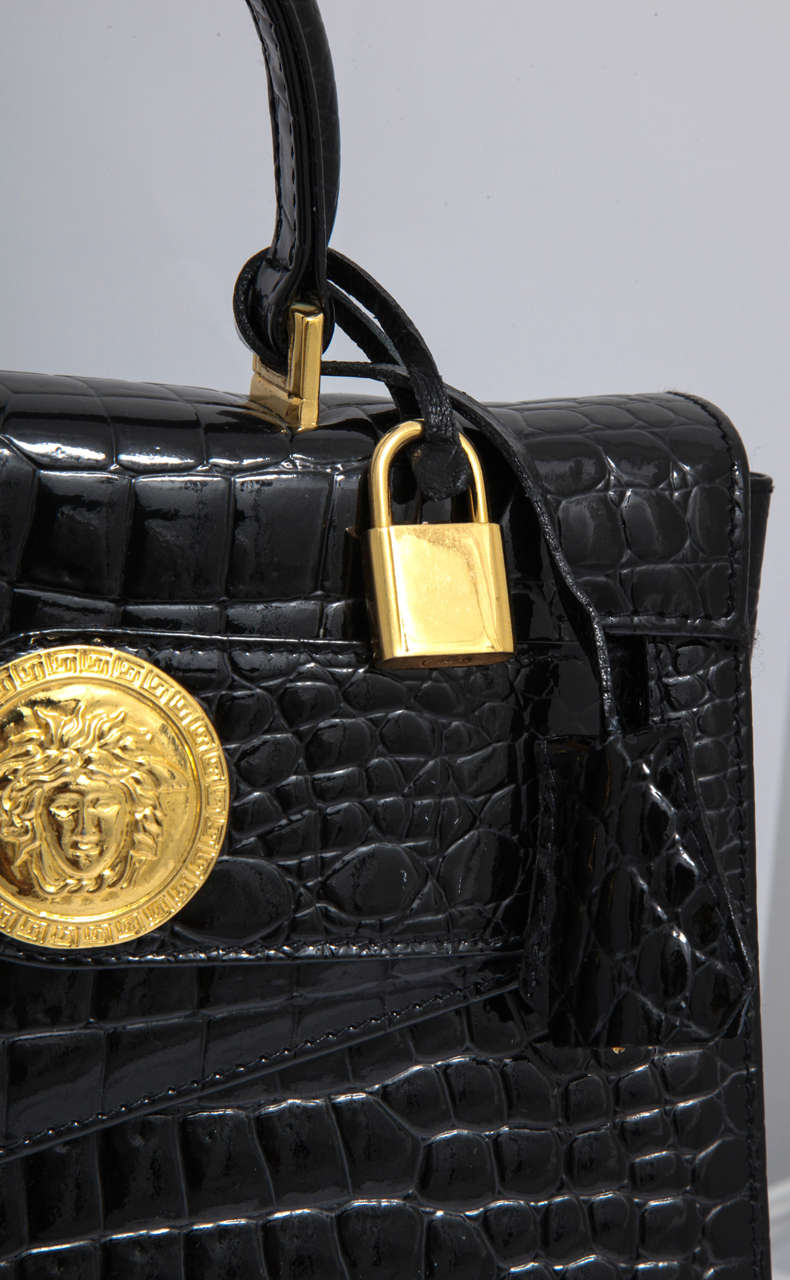 Gianni Versace Croc Embossed Couture Bag With Medusas 7