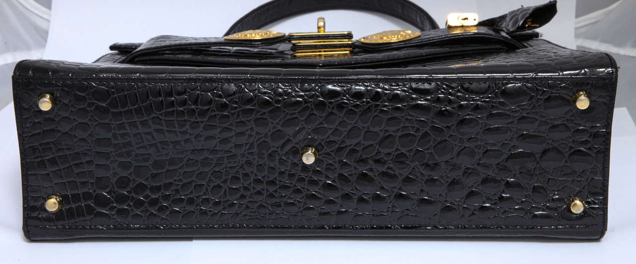 Gianni Versace Croc Embossed Couture Bag With Medusas 8
