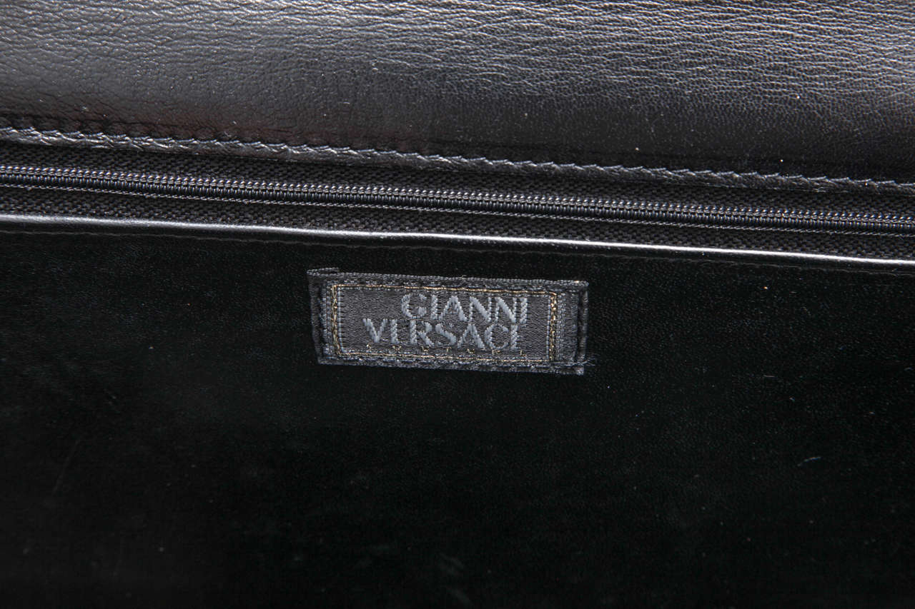 Gianni Versace Croc Embossed Couture Bag With Medusas 9