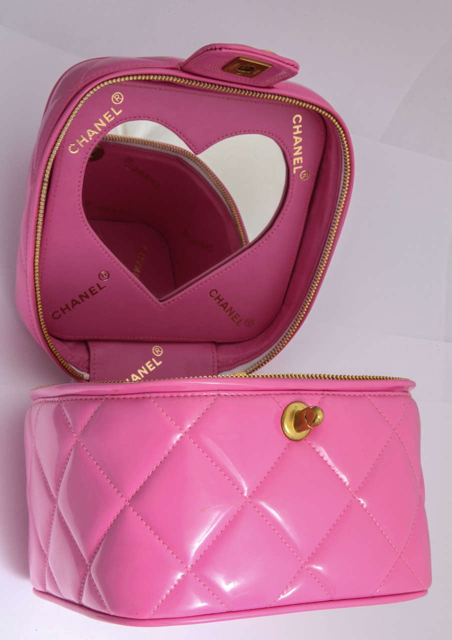 Chanel 1995 Pink Heart Mirror Vanity Case Bag At 1stdibs