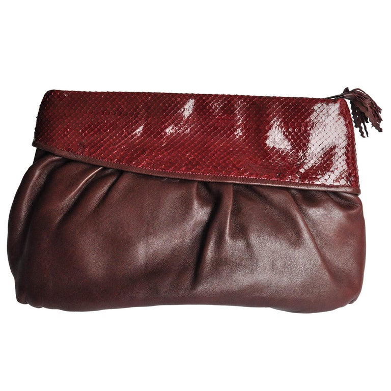 e6ee7883230 HomeFashionHandbags and PursesClutches. 1980s Vintage Burgundy Snakeskin  and Leather Clutch by Walter Katten For Sale