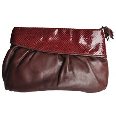 1980s Vintage Burgundy Snakeskin and Leather Clutch by Walter Katten