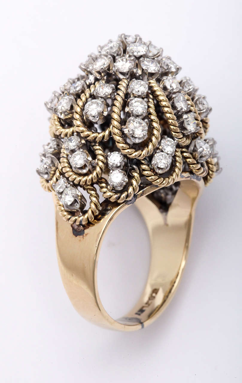 Frivolous 18kt Yellow Gold constructed Dome Ring.  Beautifully made.  Signed,  but unknown maker.  Set with full cut - clean white Diamonds. Over 3 carats total.