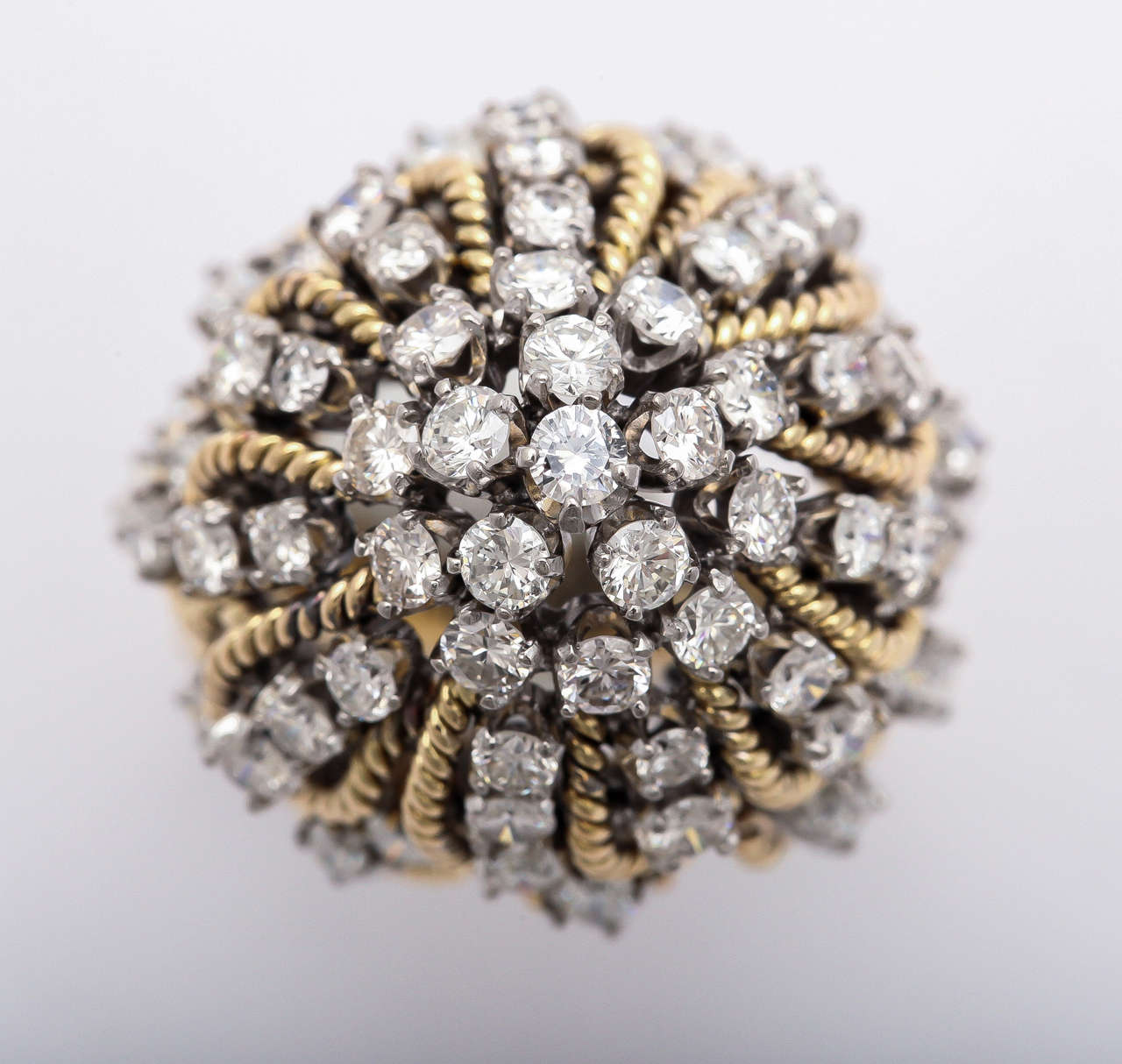 Frivolous Diamond Gold Dome Ring In Excellent Condition For Sale In New York, NY