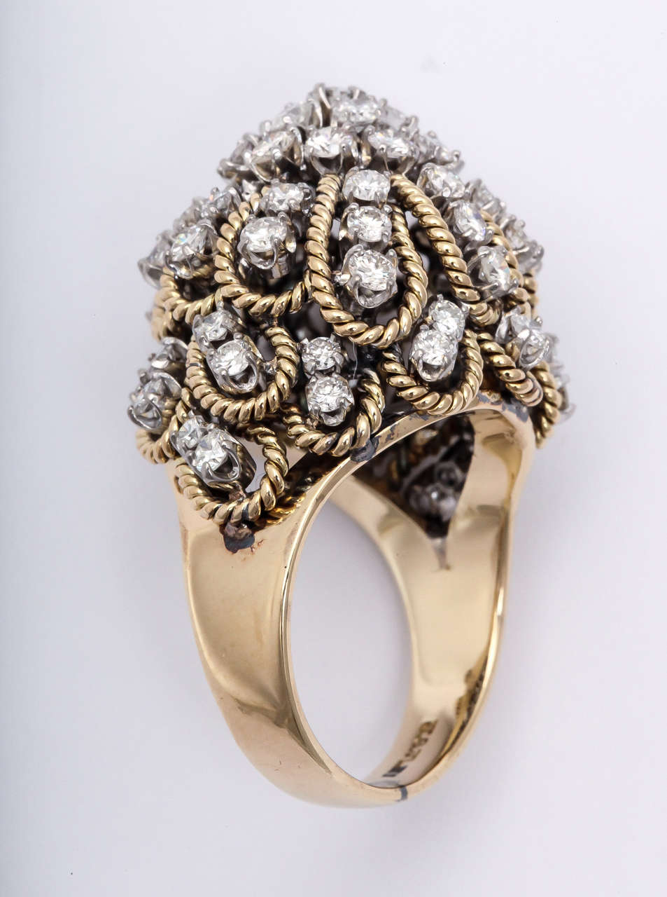 Women's Frivolous Diamond Gold Dome Ring For Sale