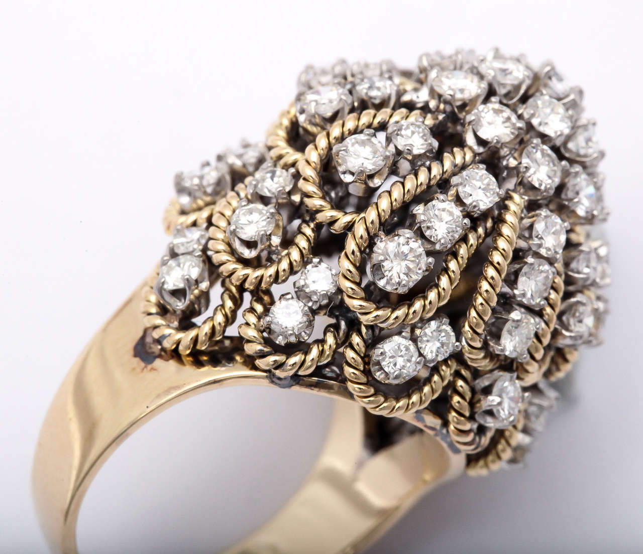 Frivolous Diamond Gold Dome Ring For Sale 1