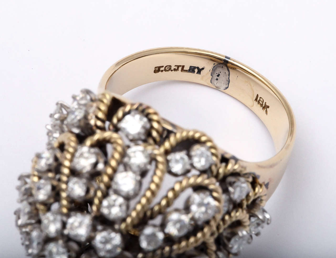 Frivolous Diamond Gold Dome Ring For Sale 2