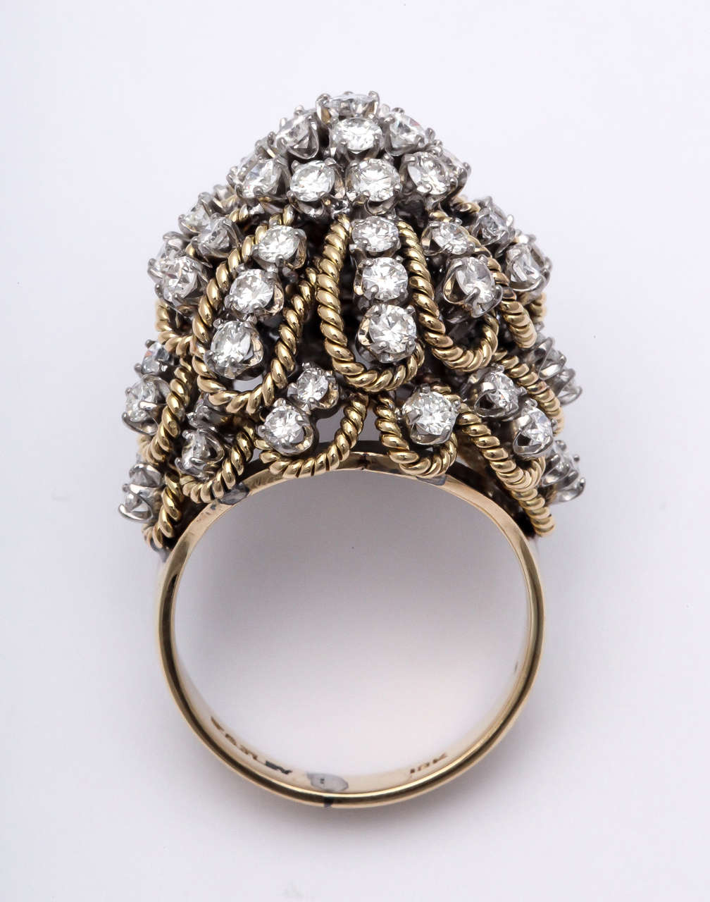 Frivolous Diamond Gold Dome Ring For Sale 3