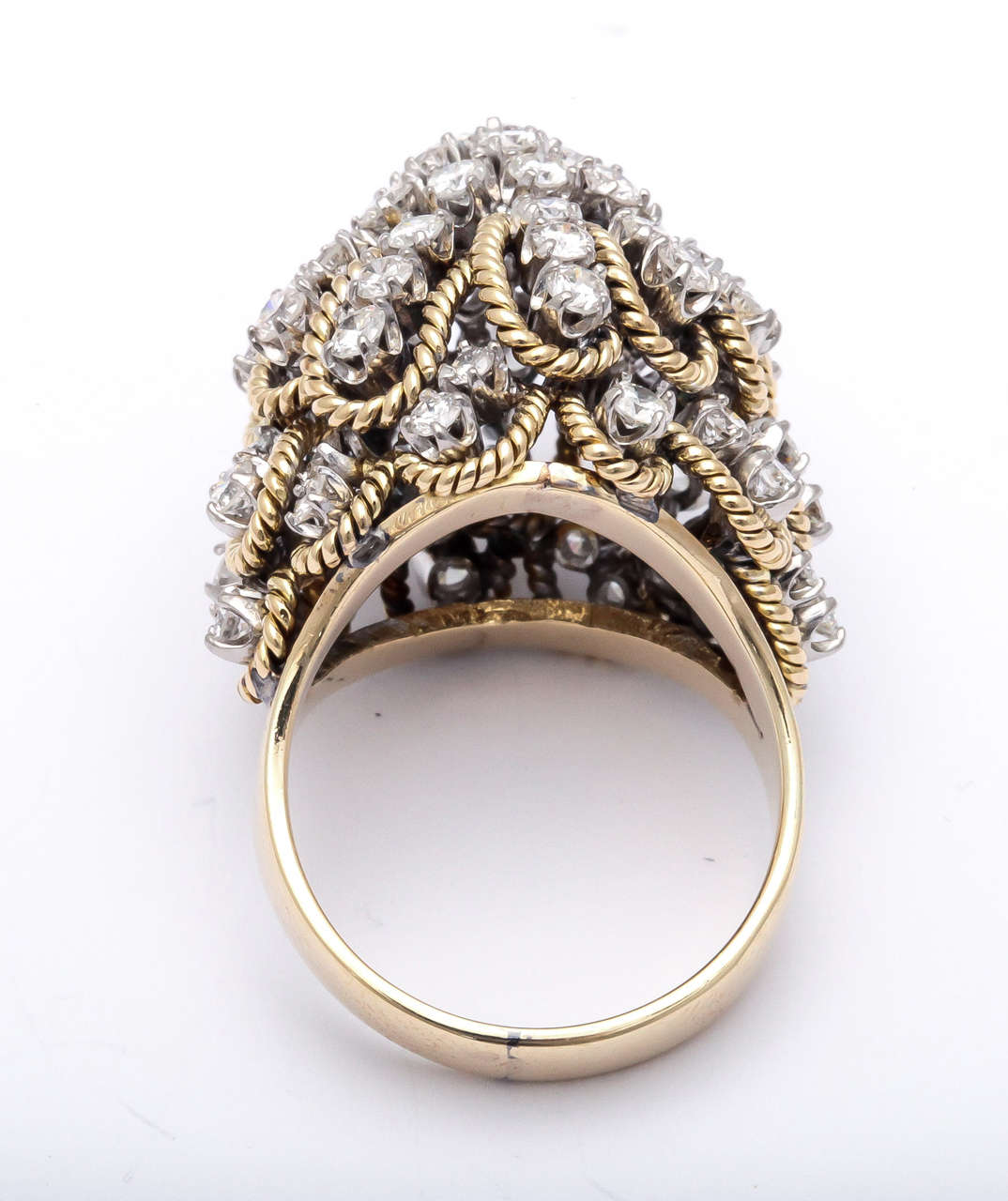 Frivolous Diamond Gold Dome Ring For Sale 4