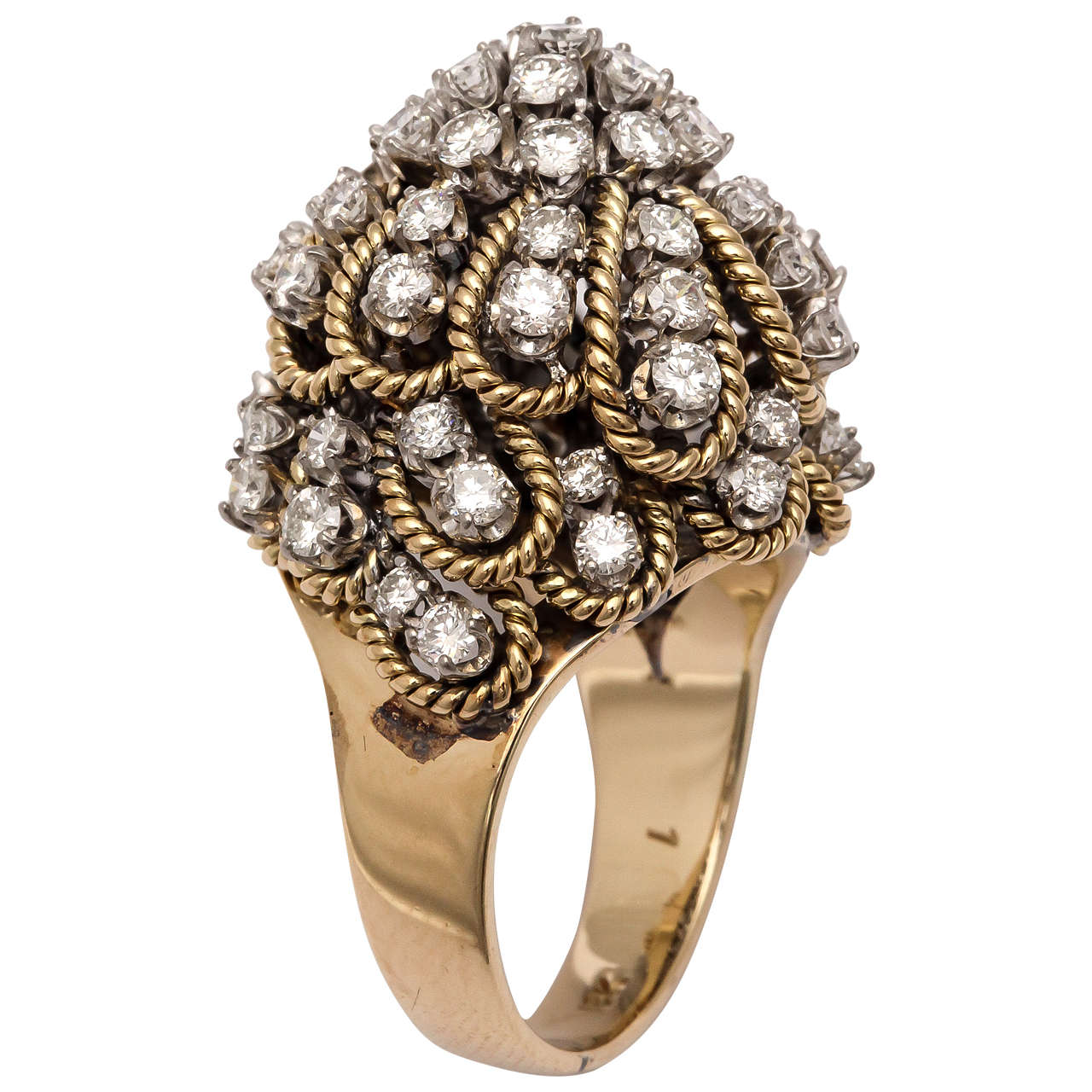 Frivolous Diamond Gold Dome Ring For Sale