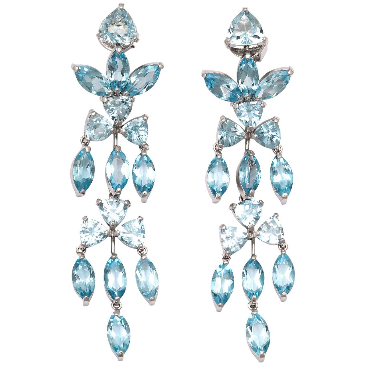 Aquamarine Blue Topaz White Gold Drop Earrings At 1stdibs