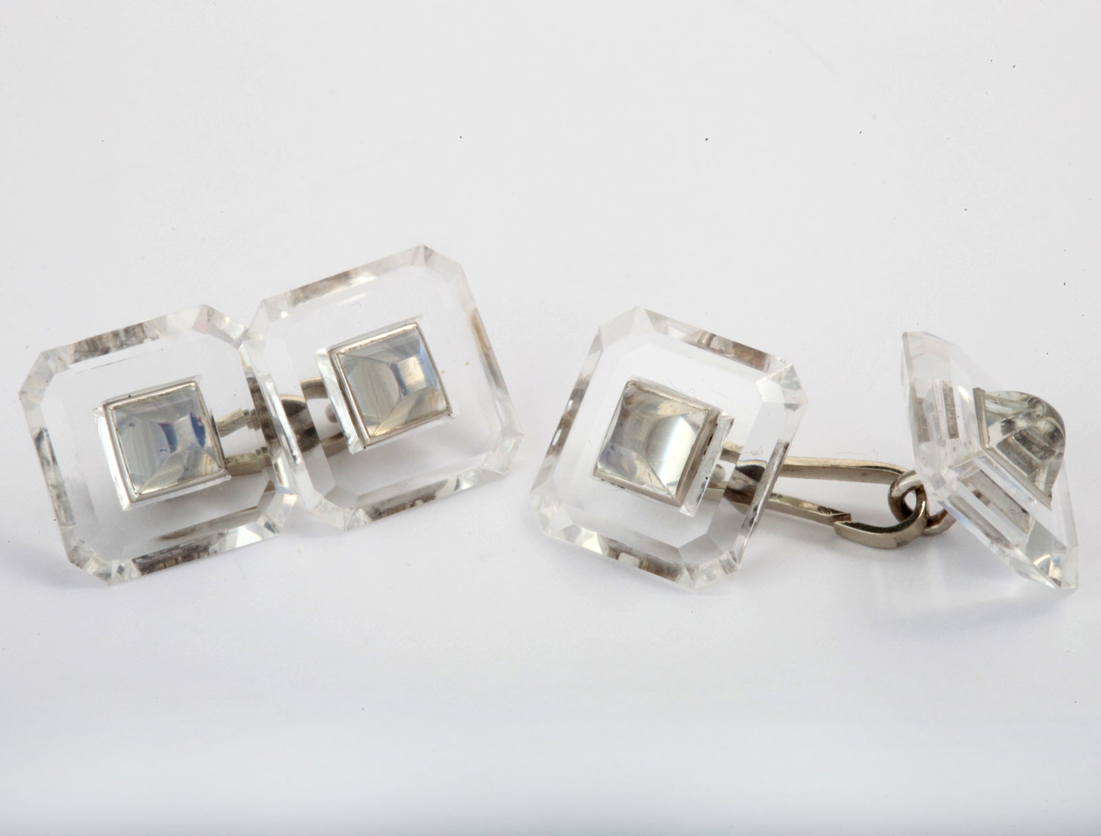 Yafa signed jewels new york ny 1stdibs page 4 - Art Deco Rock Crystal And Moonstone Cuff Links 3