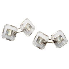 Art Deco Rock Crystal and Moonstone Cuff Links