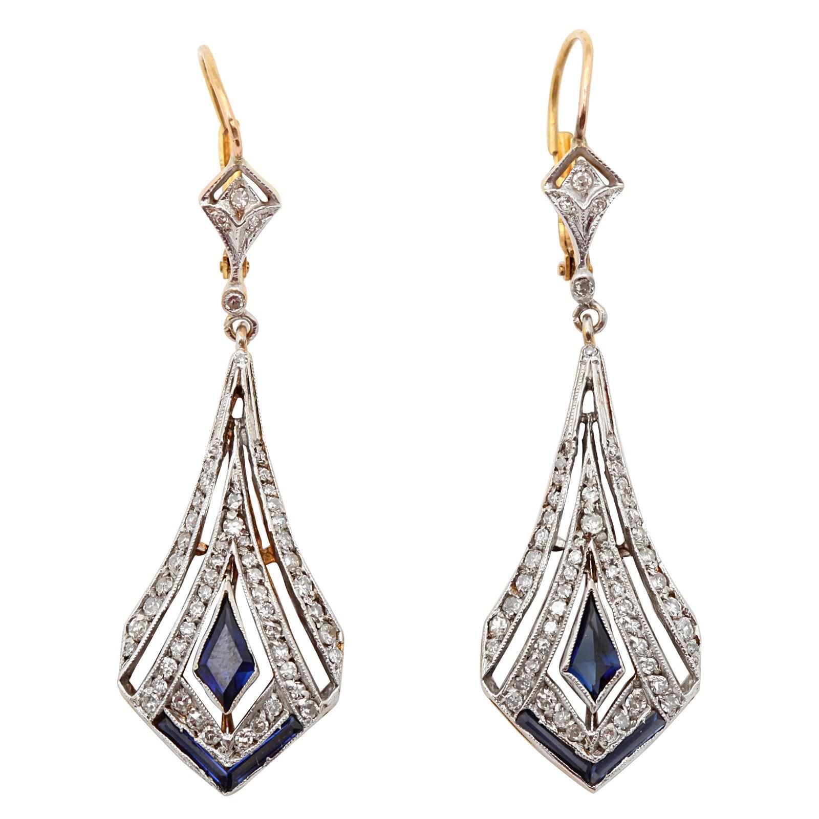 art deco sapphire and diamond drop earrings at 1stdibs. Black Bedroom Furniture Sets. Home Design Ideas