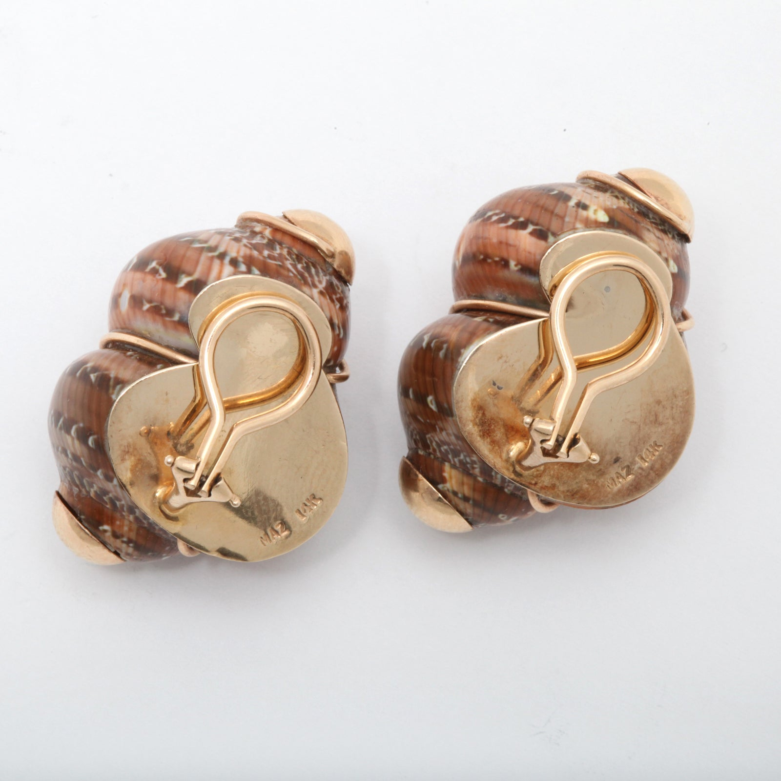 mazza gold and colored shell earrings at 1stdibs