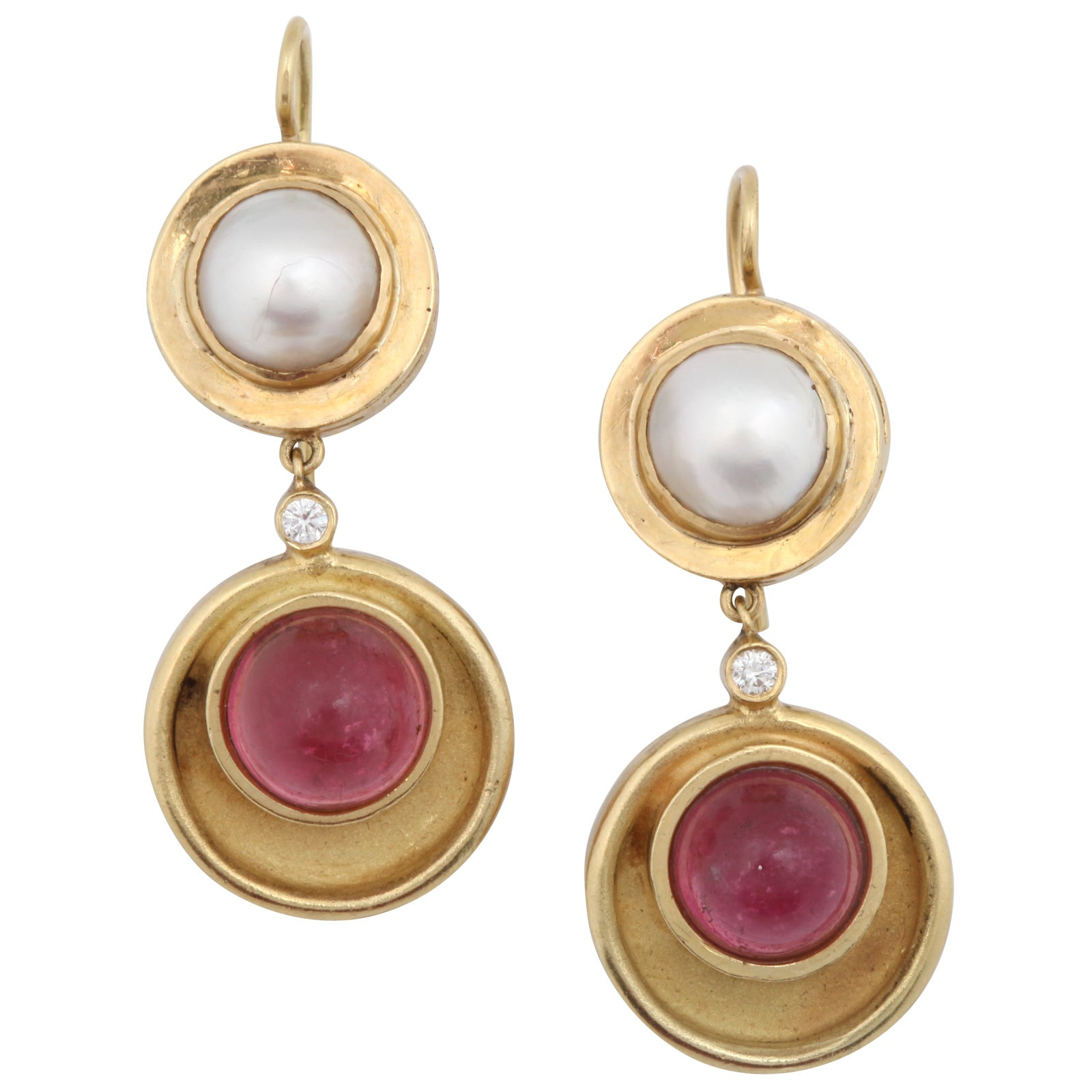 pink tourmaline and pearl gold drop earrings at