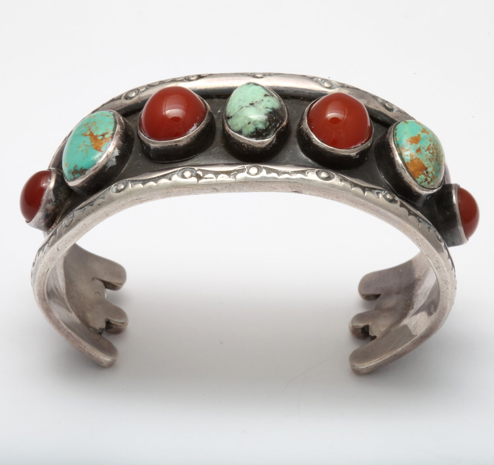 Old Navajo Cuff of Matrix Turquoise and Carnelian 3