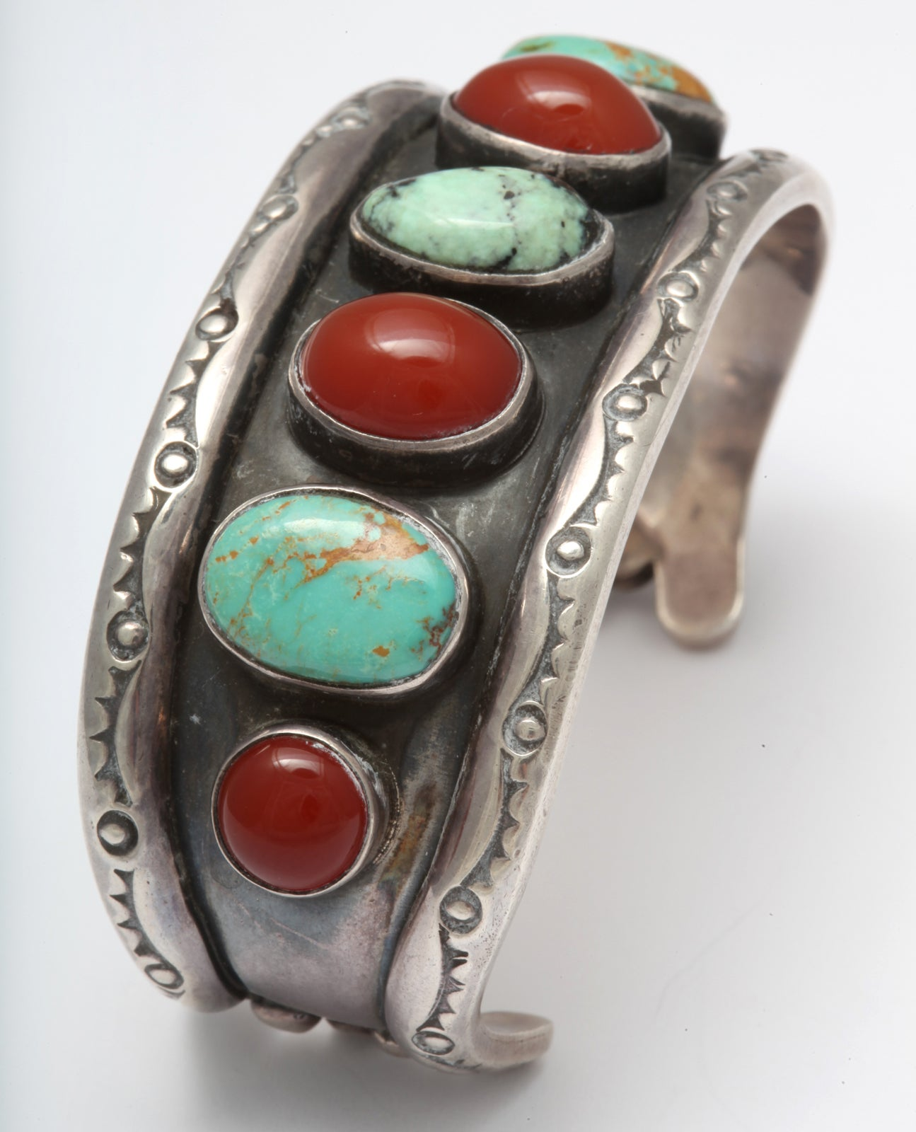 Women's or Men's Old Navajo Cuff of Matrix Turquoise and Carnelian For Sale