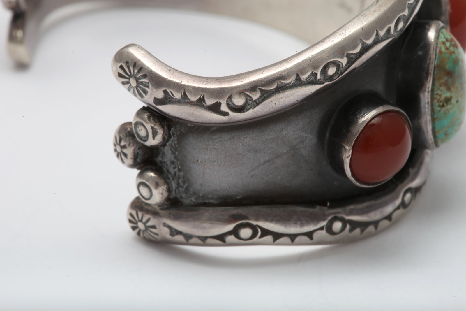 Old Navajo Cuff of Matrix Turquoise and Carnelian For Sale 3