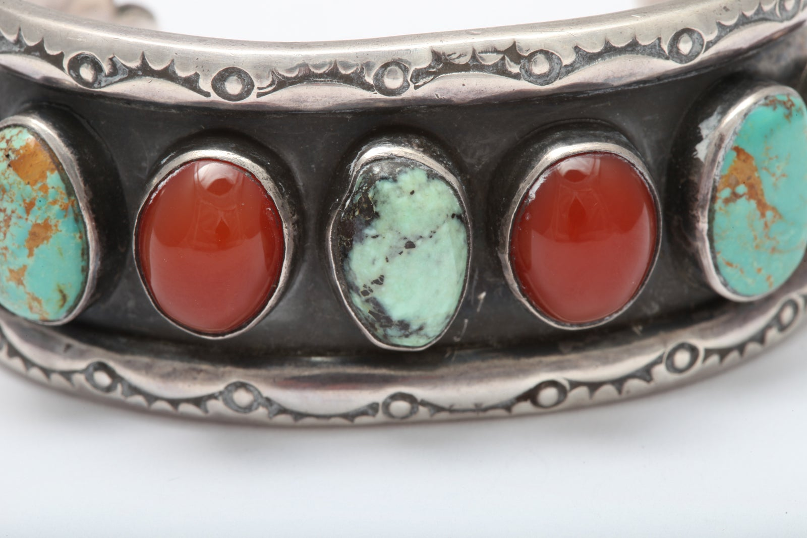 Old Navajo Cuff of Matrix Turquoise and Carnelian For Sale 4